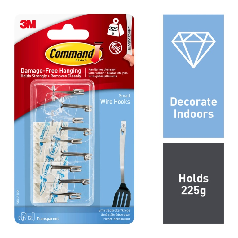 Command Clear Wire Hooks With Strips - Value Pack Small