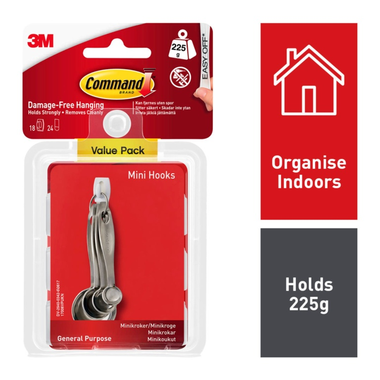Command White Hooks With White Strips - Mini