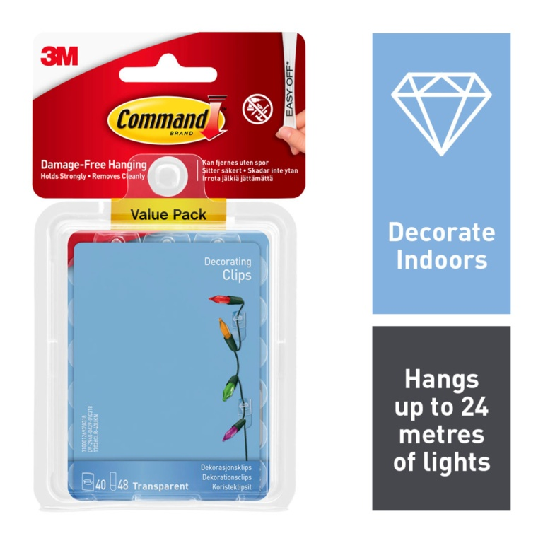 Command Clear Decorating Clips With Clear Strips - Value Pack