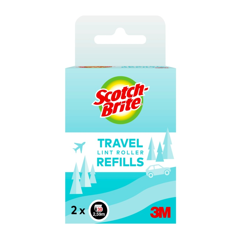 ScotchBrite Travel Lint Roller - 2 x 30 Sheet Refills