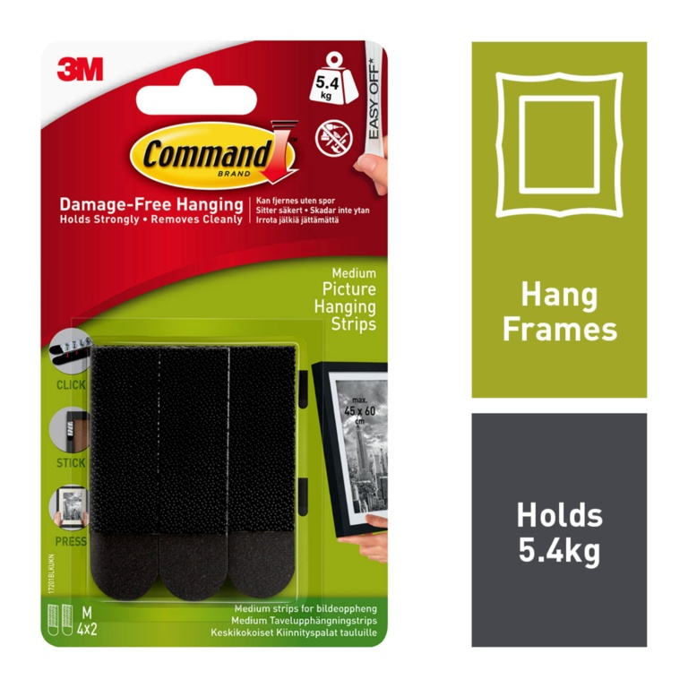 Command Picture Hanging Strips Black - Medium