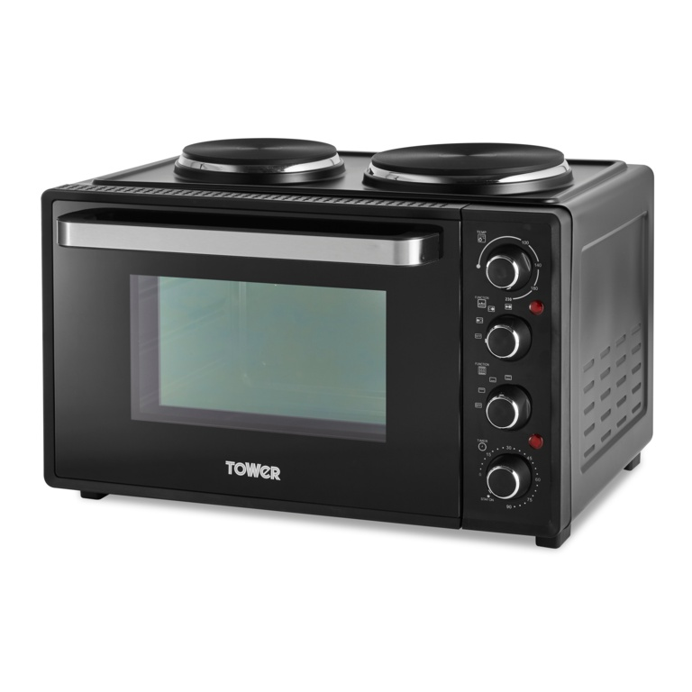 Tower Mini Oven With Hot Plates - Black 32L