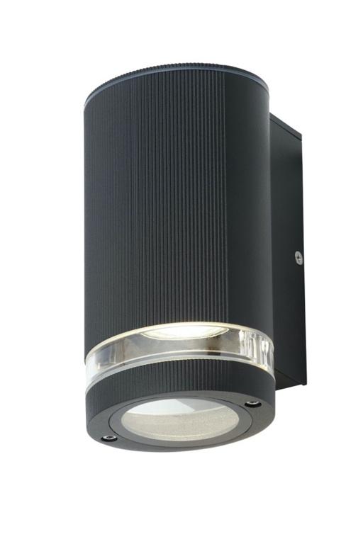 Zinc Helix 1 Light Aluminium Black Wall Light GU10 - 35w