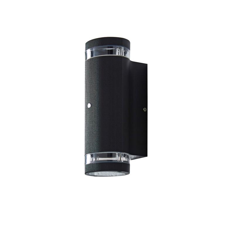 Zinc Helix Up/Down Wall Light with Photocell Sensor - Black 5w