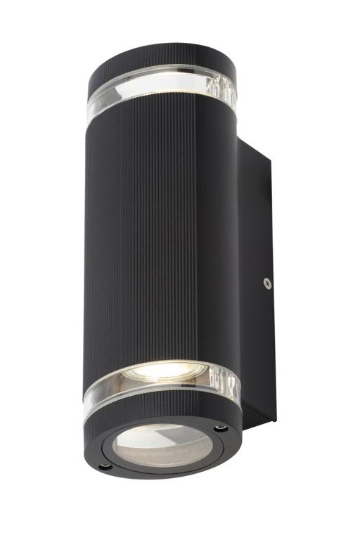 Zinc Helix 2 LED Aluminium GU10 Up/Down Wall Light - 35w Black