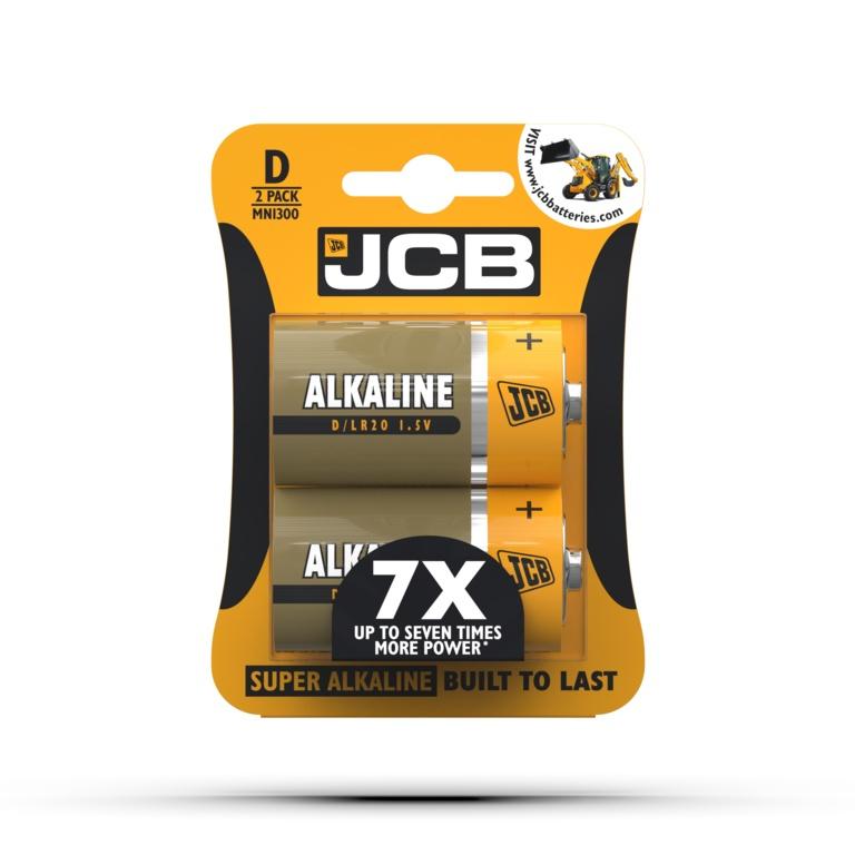 JCB Alkaline Batteries D Cell - Pack 2