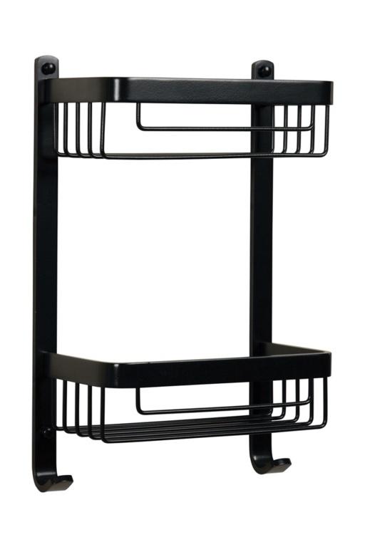 Croydex Aluminium Chunk 2 Tier Basket - Black