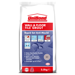 UniBond Wall and Floor Tile Grout Grey 2.5kg