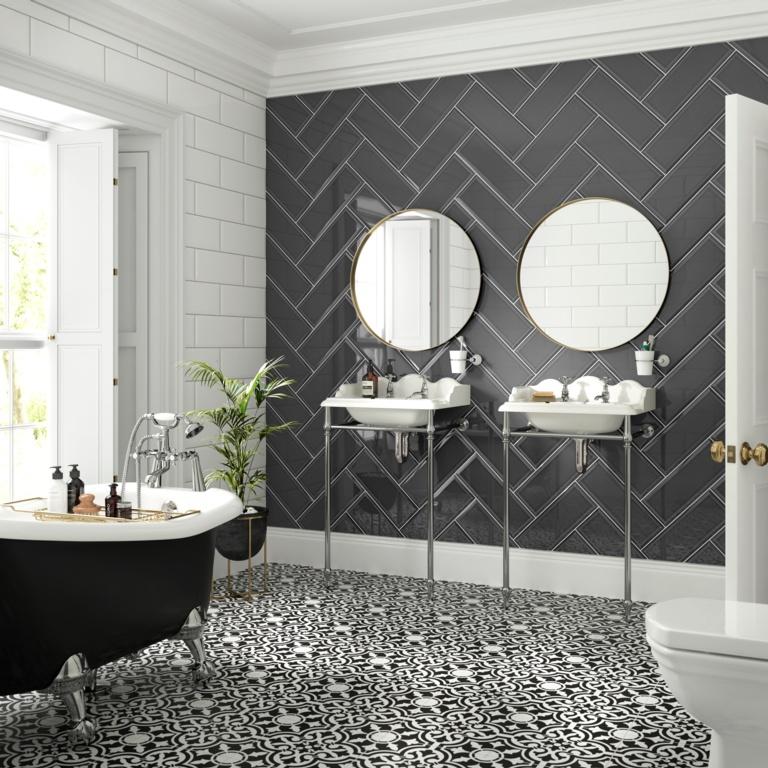 Johnson Tiles Bevel Wall Tile 400 x 150 x 10mm - Graphite Gloss 1.02m2