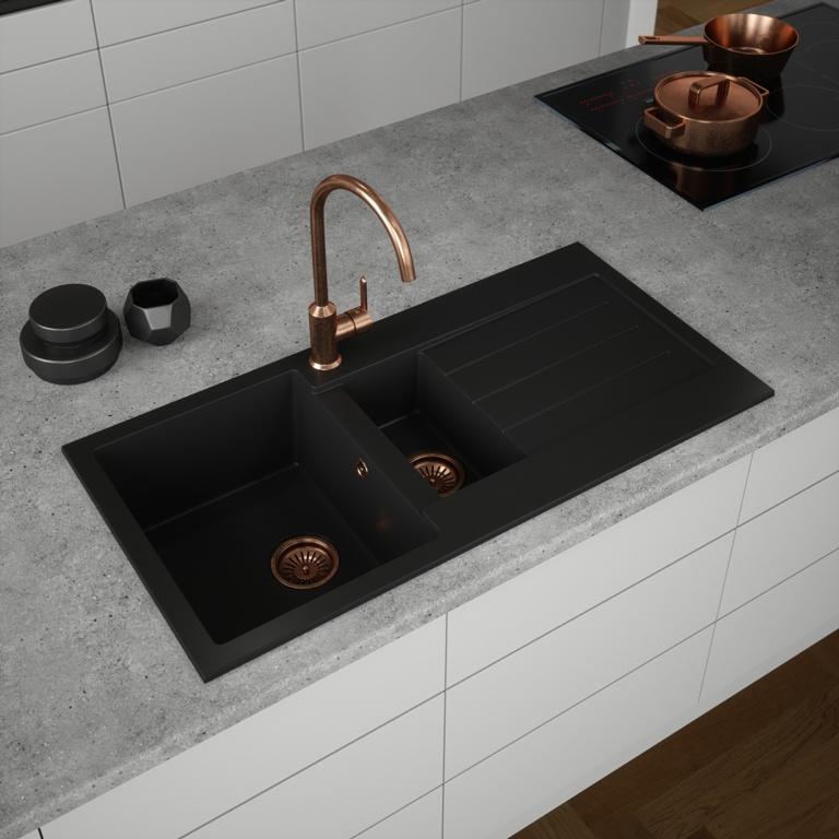 Ellsi Comite 1.5 Bowl Sink & Waste - Black 100 x 50cm