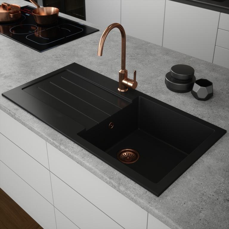 Ellsi Comite 1 Bowl Sink & Waste - Black 100 x 50cm