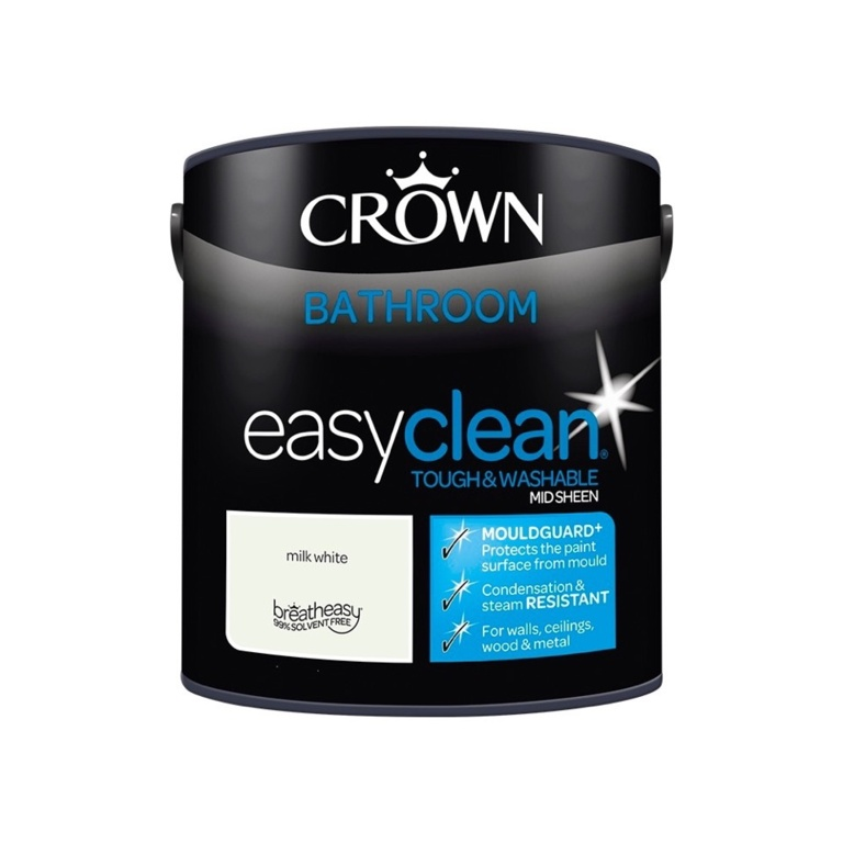 Crown Easyclean Bathroom Mid Sheen 2.5L - Milk White