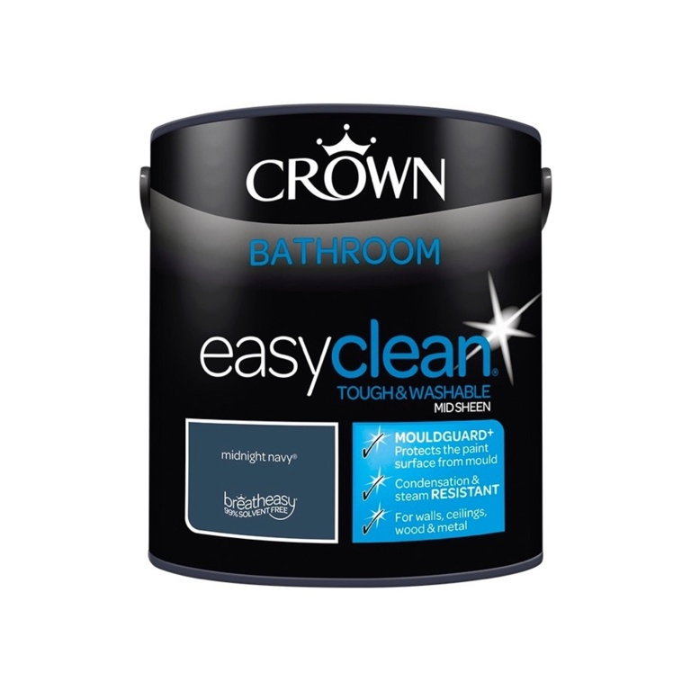 Crown Easyclean Bathroom Mid Sheen 2.5L - Midnight Navy