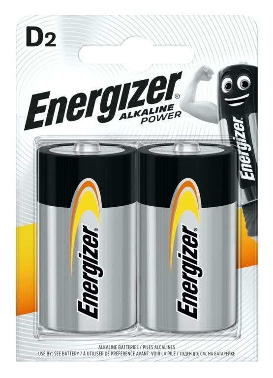 Energizer Alkaline Power Batteries Pack 2 - D Size