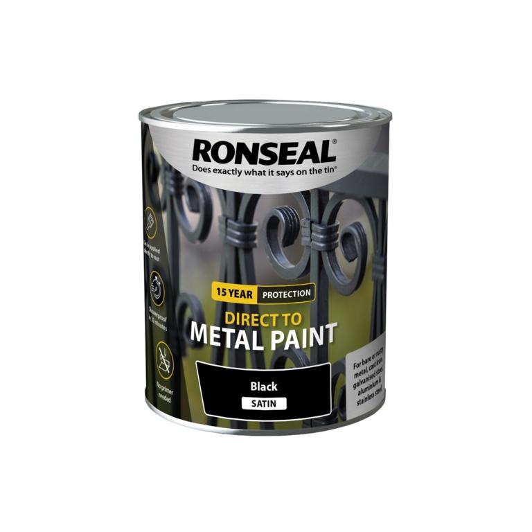 Ronseal Direct To Metal Paint 750ml - Black Satin