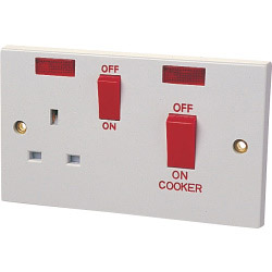 Dencon 45A Cooker Panel with 13A Socket and Pilot Lamp to BS