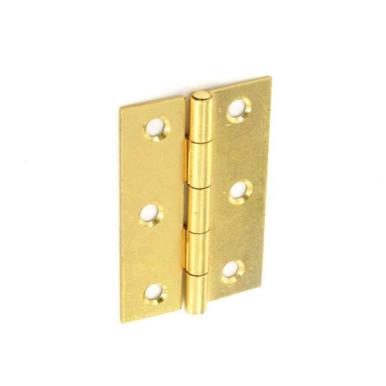 Securit Steel Butt Hinges Brass Plated (Pair) - 75mm