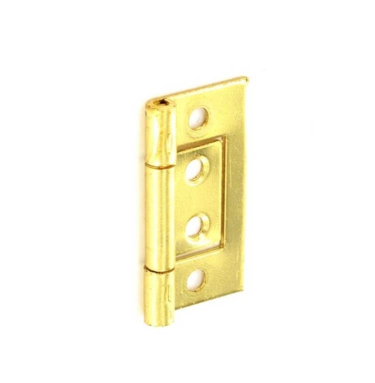 Securit Flush Hinges Brass Plated (Pair) - 50mm