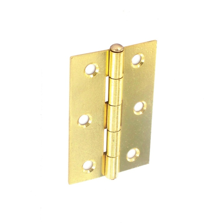 Securit Loose Pin Butt Hinges Brass Plated (Pair) - 75mm