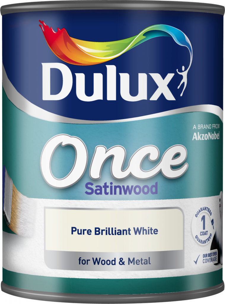 Dulux Once Coat Satin Wood 750ml - Brilliant White
