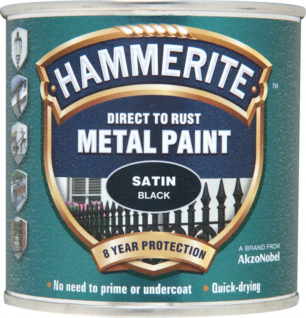 Hammerite Metal Paint Satin 250ml - Black