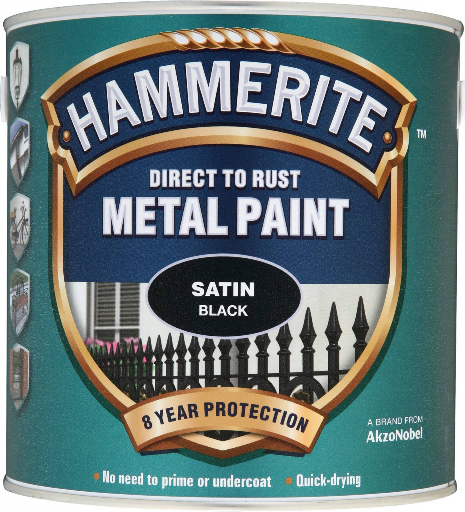 Hammerite Metal Paint Satin 2.5L - Black