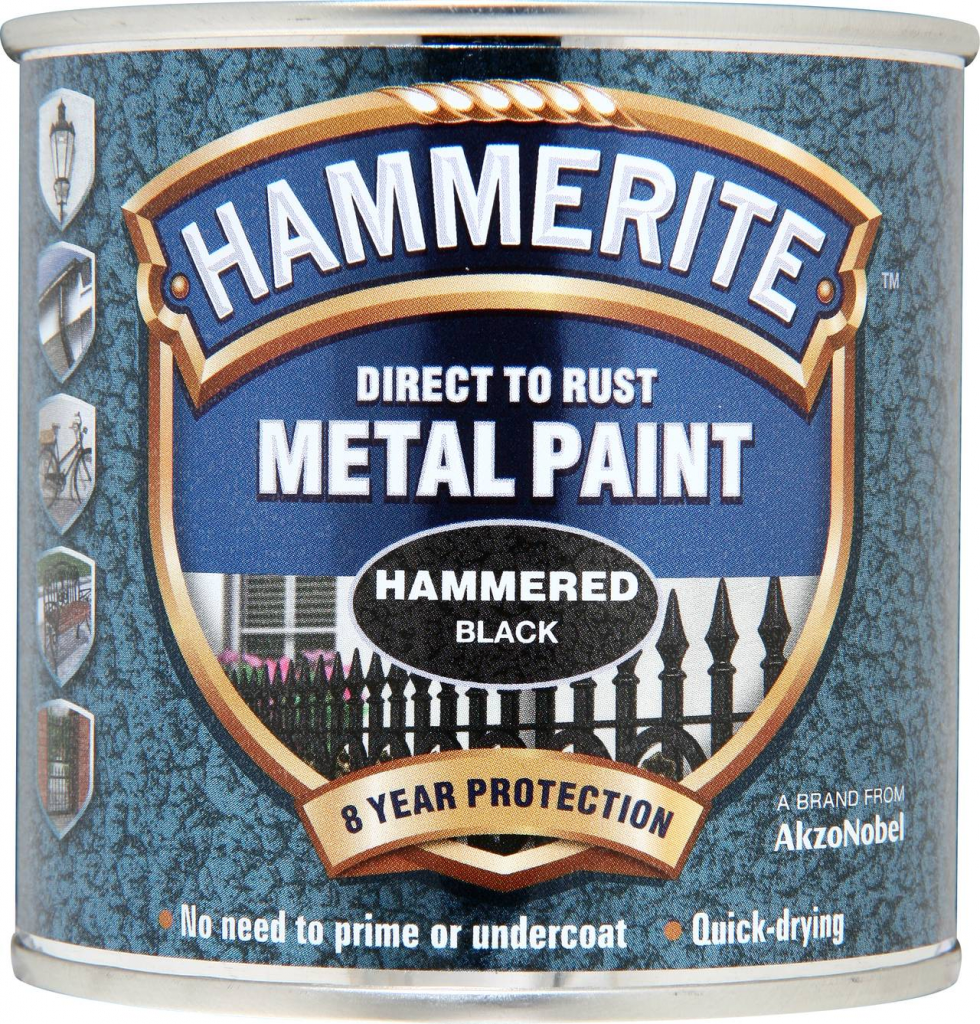 Hammerite Metal Paint Hammered 250ml - Black