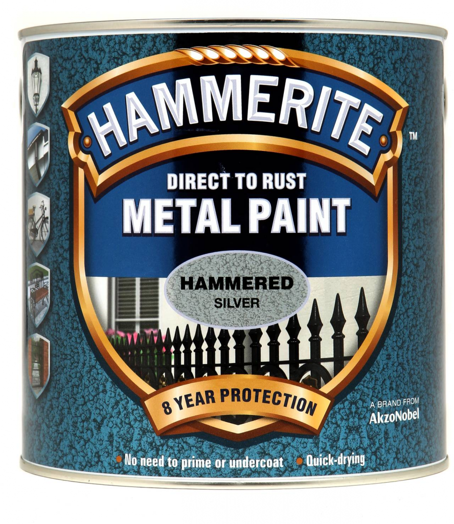 Hammerite Metal Paint Hammered 2.5L - Silver