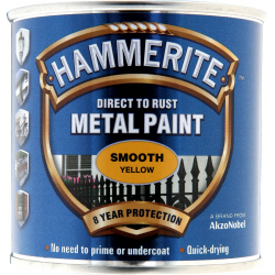 Hammerite Metal Paint Smooth 250ml Yellow