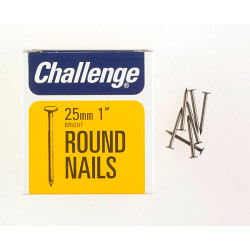 Challenge Round Wire Nails - Bright Steel (Box Pack) - 25mm