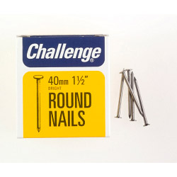 Challenge Round Wire Nails - Bright Steel (Box Pack) - 40mm