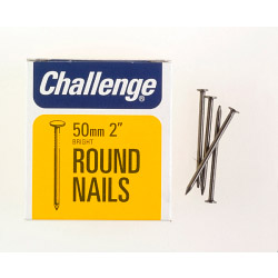 Challenge Round Wire Nails - Bright Steel (Box Pack) - 50mm
