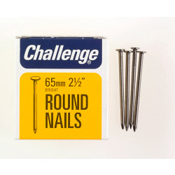 Challenge Round Wire Nails - Bright Steel (Box Pack) - 65mm