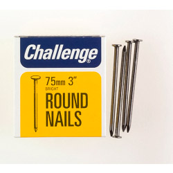 Challenge Round Wire Nails - Bright Steel (Box Pack) - 75mm
