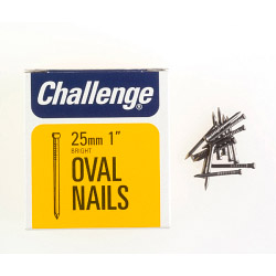 Challenge Oval Wire Nails - Bright Steel (Box Pack) - 25mm