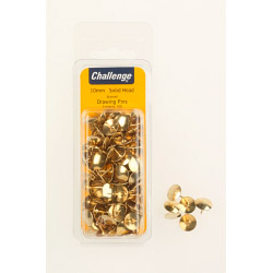 Challenge Drawing Pins (Solid Head) - Brassed (Folding Clam Pack) - 10mm