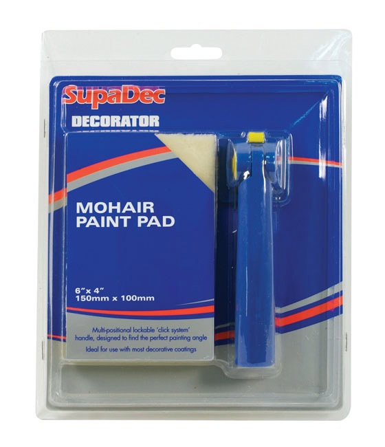 """SupaDec Decorator Mohair Paint Pad with Handle - 6"""" x 4"""" /150mm x 100mm"""