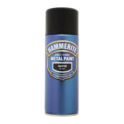 Hammerite Metal Paint 400ml Aerosol Satin Black