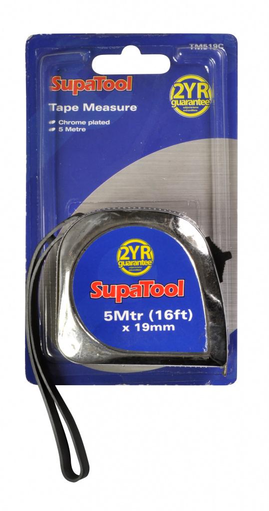SupaTool Chrome Plated Tape Measure - 5m x 19mm