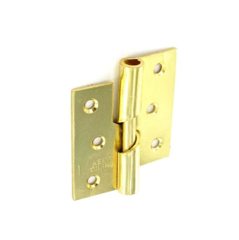 Securit Rising Butt Hinges LH Brass Plated (Pair) - 75mm