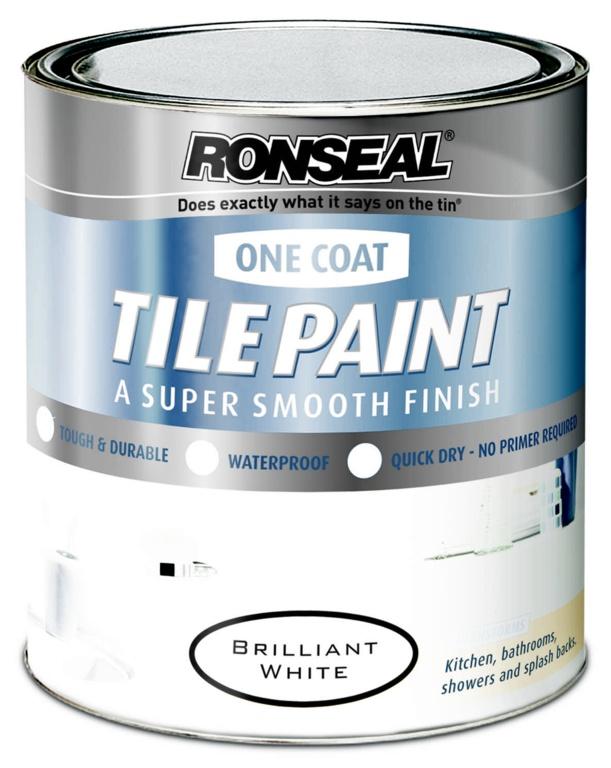 Ronseal One Coat Tile Paint 750ml - Brilliant White