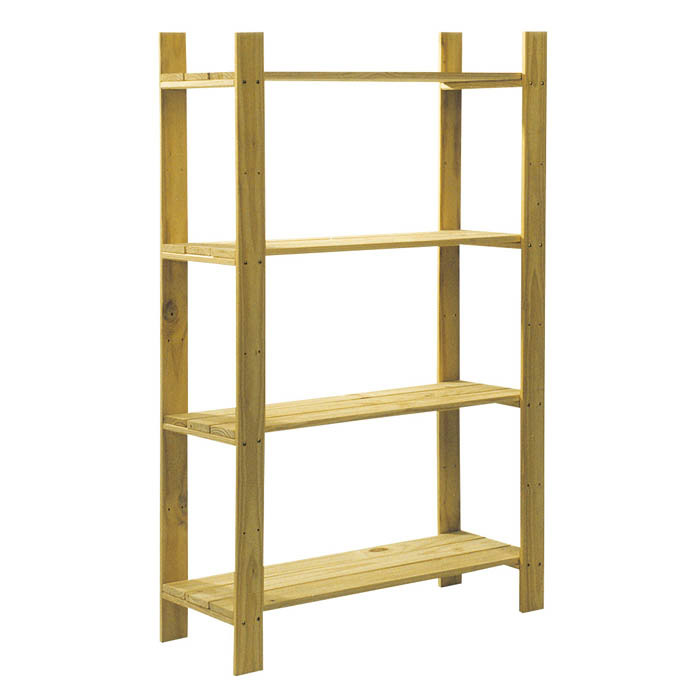 Core Natural Wood 4 Shelf Slatted Storage Unit - 1200 x 800 x 300mm