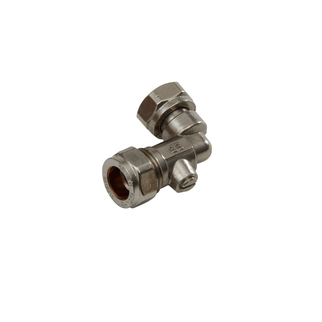SupaPlumb Angled Service Valve - 15 x 1 Chrome Plated