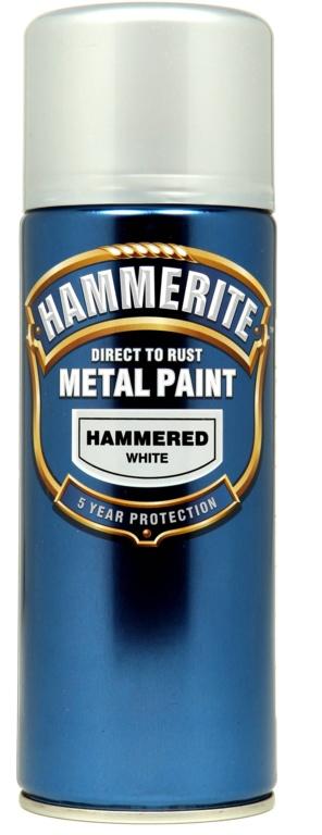 Hammerite Metal Paint 400ml Aerosol - Hammered White