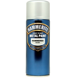 Hammerite Metal Paint 400ml Aerosol Hammered Silver