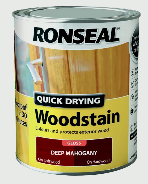 Ronseal Quick Drying Woodstain Gloss 250ml - Deep Mahogany