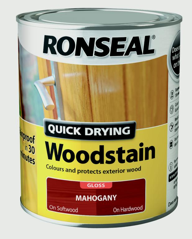Ronseal Quick Drying Woodstain Gloss 750ml - Mahogany