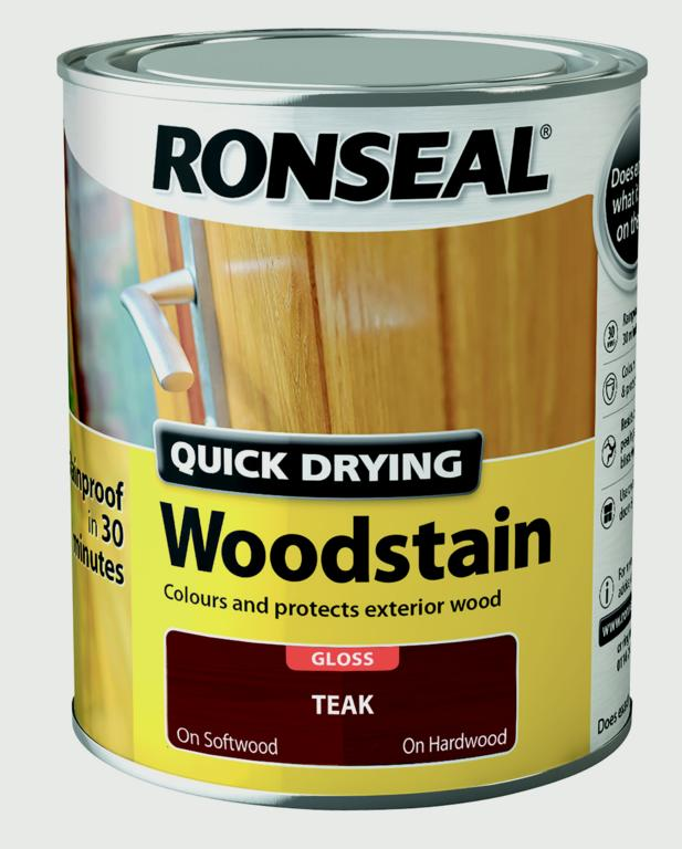 Ronseal Quick Drying Woodstain Gloss 750ml - Teak
