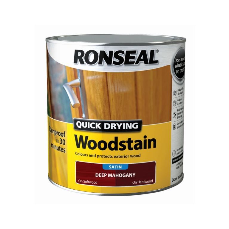 Ronseal Quick Drying Woodstain Satin 2.5L - Deep Mahogany