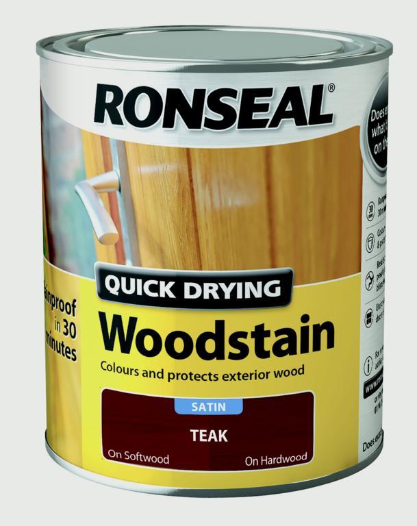 Ronseal Quick Drying Woodstain Satin 250ml - Teak